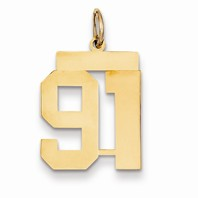 14k gold 91 Charm  Pendant gold number 91 number only is 916h total just over 78h