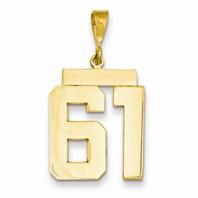 14k gold 61 Charm  Pendant gold number 61 number only is 1116h total 1-516h