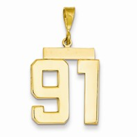 14k gold 91 Charm  Pendant gold number 91 number only is 1116h total 1-516h