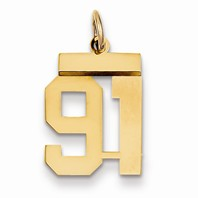 14k gold 91 Charm  Pendant gold number 91 number only is 12h total 1316h