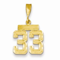 14k gold 33 CharmPendant gold number 33 number only is 12 h total 1 h