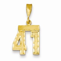 14k gold 41 Charm  Pendant gold number 41 number only is 12 h total 1 h