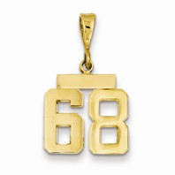 14k gold 68 Charm  Pendant gold number 68 number only is 12 h total 1 h