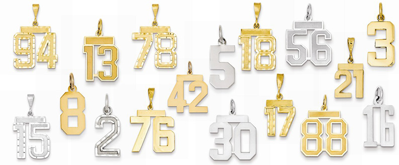14k gold numbers from 0 to 99