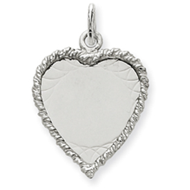 clearance item 14k white gold heart with rope edge engravable