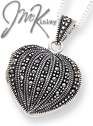 Sterling Silver Marcasite Heart Locket on 18 inch chain neck
